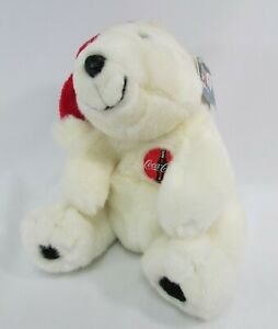 Coca Cola Plush Design Holiday Polar Bear Christmas 1996 with Tags Coca-Cola 10""