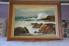 Vintage  PAINTING Waves Knocking the Rocks In Ocean By Mary Paxton Signed 12x15
