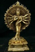 China Tibet Buddhism Brass 1000 Arms Kwan-Yin Avalokiteshvara Of Goddess Statue