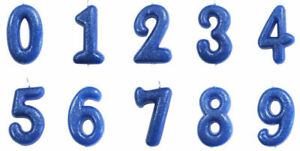 Blue Glitter Age Number Candle Birthday Party Cake Topper Celebration Decoration