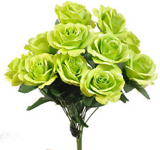 Lime Green ~ 12 Open Long Stem Roses Silk Wedding Flowers Bouquets Centerpieces