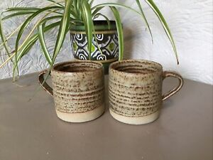 Pair of Vintage Abaty Wales Stoneware Studio Pottery Cups/Mugs #3617