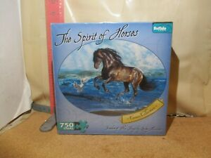 Buffalo Games 750 Piece Oval Puzzle/The Spirit of Horses/Lesley Harrison new!