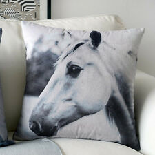45 x 45cm Retro Vintage Premium Black/White Horse Photograph Cushion Cover-B