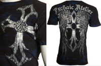 ARCHAIC by AFFLICTION Men T-Shirt ACCURSED Cross Wings BLK Tattoo Biker $40
