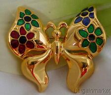 Gold Tone Butterfly Enamel Flower Wing Brooch Pin