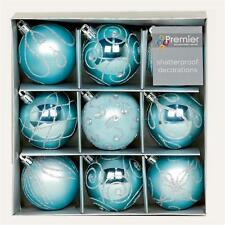 Christmas Tree Decoration 9 Pack 60mm Shatterproof Baubles - Ice Blue