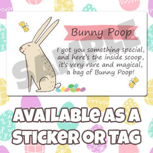 Easter Bunny Poop Hunt Egg Sweets Bait Kisses Chick Stickers Tags Labels cl018