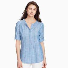 Nine West Jeans Women's Lucy Blouse Dutch Blue Braid Stripe Top Roll Tab Sleeve