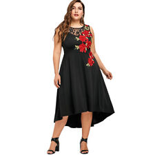 UK Women's Lace Floral Midi Sundresses Plus Size 18-26 Foral Party Vintage Dress