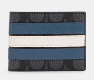 COACH ID Wallet in Signature Canvas * Varsity Stripe * 8cc/Removable ID $178