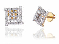 Pave 0.68 Cts Round Brilliant Cut Diamonds Stud Earrings In Fine 18K Yellow Gold