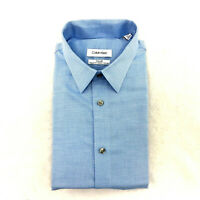 Calvin Klein Men's Regular Fit Dress Shirt, Blue Pindot, Size 17 32/33