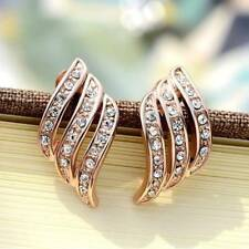 Angle Wings Rose Gold Crystal Rhinestone Stud Earrings for Women Jewelry Gifts