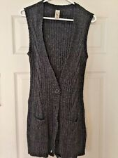 ONE STEP UP WOMENS SWEATER Gray VEST LONG WORN WITH All Unicorn LEGGINGS SIZE L