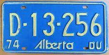 Alberta 1974 RENTAL License Plate # D-13-256