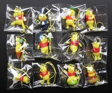 1Set 12Pcs PVC Winnie the pooh Action Figures Cell Phone Strap Charms C-19
