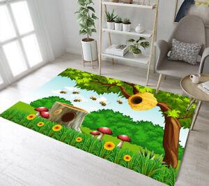 Green Spring Honeycomb Bee Bedroom Floor Mat Yoga Carpet Kids Play Area Rugs