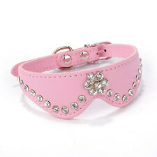 Pretty Pet Dog Cat Collar Buckle Necklace Leather Puppy Rhinestone Collars Lots