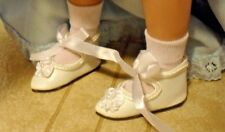 "VINTAGE NIP WHITE ANKLE TIE DOLL SHOES & WHITE SOCKS fit TONNER 14"" BETSY McCALL"