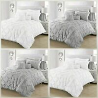 Pintuck Pleated Duvet Cover with Pillowcase Bedding Set Charcoal White