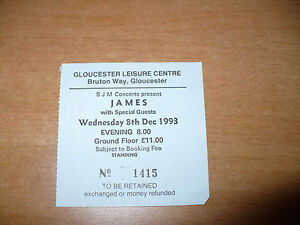 BIGLIETTO TICKET SJM CONCERTS PRESENT JAMES WITH SPECIAL GUESTS 8 -12-1993