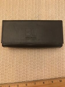 New Hugo Boss Orange EyeGlass Case With Cleaning Cloth. Leather. Dark Brown