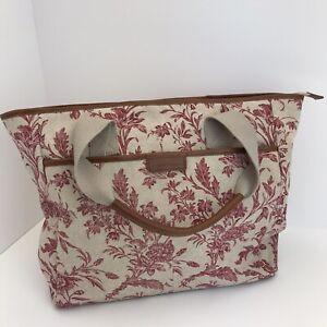 Laura Ashley  Large Handbag /Shopper Bag . Red Floral/Natural  Zip 17''x12''x5''