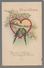 """[53660] OLD POSTCARD """"TO MY VALENTINE"""" TWO BIRDS KISSING"""