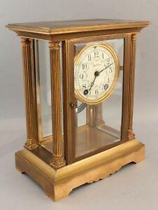 Antique Seth Thomas Gold Gilt Bronze Columns Crystal Regulator Clock , NR