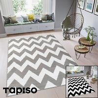 Teppich Kurzflor Grau Zick Zack Weiß Marokkanisch Modern Designer Wohnzimmer NEU