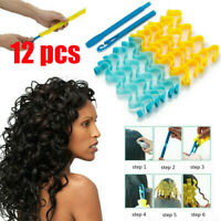 12pcs Hair Water Wave Magic Curlers Hairdressing Formers Rollers Spiral 25-65cm