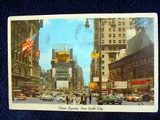 OLD PPC: NEW YORK~TIMES SQUARE~1966~ANIMATED~ADVERTISING~VINTAGE CARS