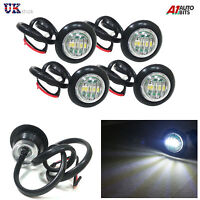 4X 12V OUTLINE ROUND SIDE MARKER 3 LED WHITE LIGHTS LAMP FOR LORRY TRAILER TRUCK