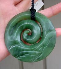 Huge New Zealand Maori Koru Landscape Pendant Top Canadian Jade Maori Artist