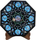 """12""""X12"""" Black Wall Decor Tile Turquoise Inlay Marquetry Floral Art Living decor"""
