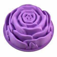 "Silicone Large 9"" Rose Flower Birthday Cake Bread Tart Flan Bakeware Baking Moul"