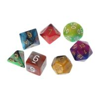 7pcs//Set Dices Beads D4-D20 TRPG Games Multi-sided Colorful Birthday dance Party