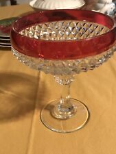 glass compote dish With Red Flashing