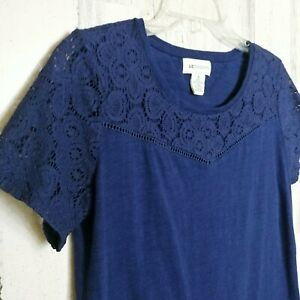 Liz Claiborne Women's Size Small Navy Short Sleeve Shirt Lace