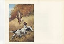"""1972 Vintage HUNTING """"STEADY NOW..., 1914"""" A HUNTER & HIS DOGS Color Lithograph"""