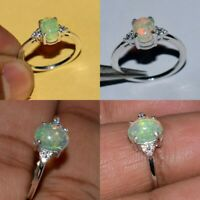 Prong 925 Sterling silver ring Natural Ethiopian Opal Fire Opal Jewelry US 5- 13
