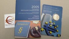 2 euro fdc Unc Italie 2005 1 constitution européenne Italia Italien Italy folder