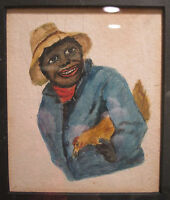 ANTIQUE VINTAGE TURN OF CENTURY AFRICAN AMERICAN FOLK ART ROOSTER PAINTING