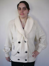 Vintage Gloria Vanderbilt Italian Wool & Angora Cream Cardigan Sweater 46 Womens