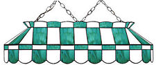 "Teal and White 40"" Stained Glass Pool Table Light -NEW- MADE IN U.S.A."