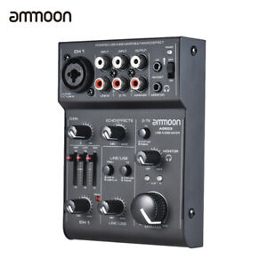 5-Channel Mic-Line Mixing Console Mixer with USB Audio Interface Echo Effect
