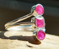 Silberring Rubin 57 Handarbeit Breit Pink Silber Ring Modern Schlicht Rot Echt