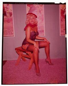 1960s Original Sexy Color 4 x 5 Pin-Up Transparency Buxom Blonde HEELS & HOSE vv