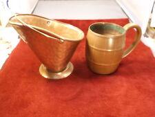 "Nice Pair Of Older Vtg Solid Copper Decor Pieces, Wb ""Barrel"" Mug, Usa 'Scoop'"